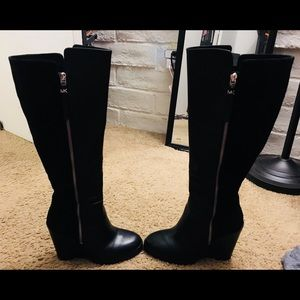 Michael Kors Leather Wedge Boots Black NEW 7.5